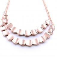 Rose Gold Plated with Two Row Fashion Statement Necklaces