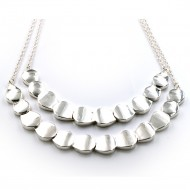 Silver Plated with Two Row Fashion Statement Necklaces