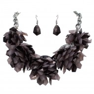 Rhodium Plated with Black Color Beads Statement Necklaces