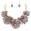Gold Plated with Dark Gray Color Mix Beads Statement Necklaces