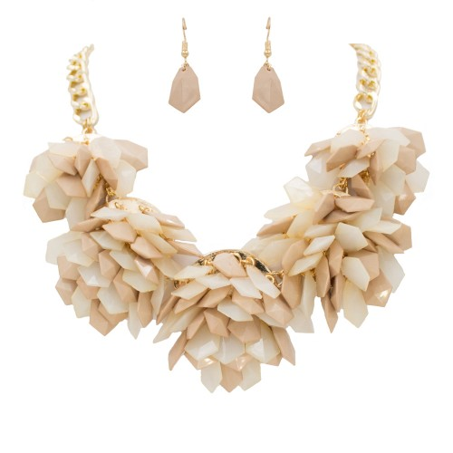 Gold Plated With Ivory Color Beads Statement Necklaces