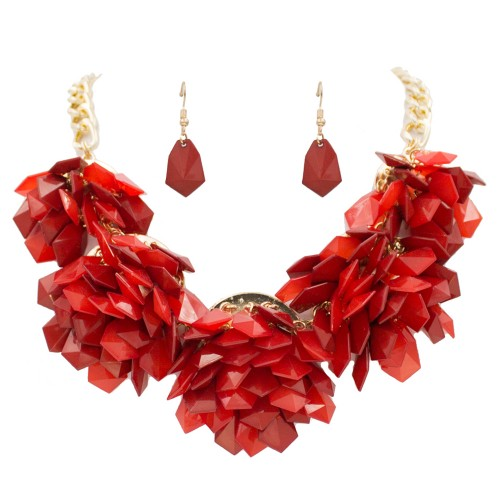 Gold Plated With Red Color Beads Statement Necklaces