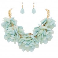 Gold Plated with Turquoise Color Beads Statement Necklaces