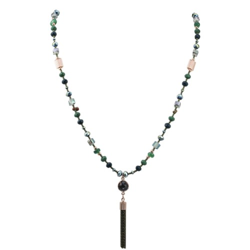 Glass Beads Green & Assorted Colors 45 inches Long Beads Necklace with Tassel Pendant for Women