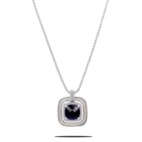 Square Shape Rhodium Plated with Black CZ Stone Necklace