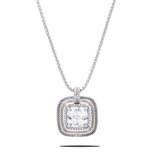 Square Shape Rhodium Plated with Clear CZ Stone Necklace