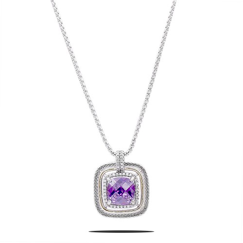 Square Shape Rhodium Plated with purple CZ Stone Necklace