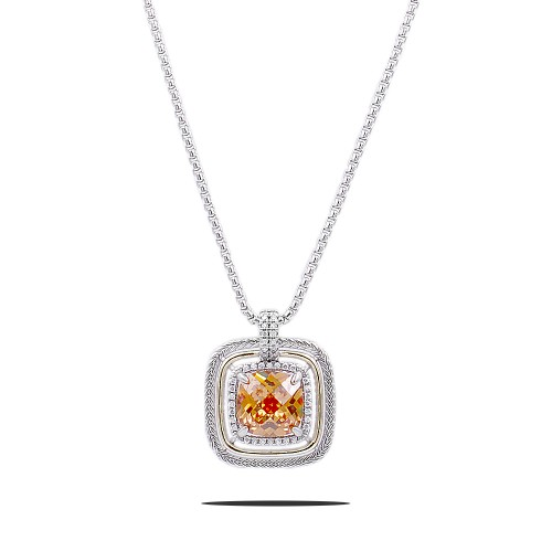 Square Shape Rhodium Plated with Topaz CZ Stone Necklace