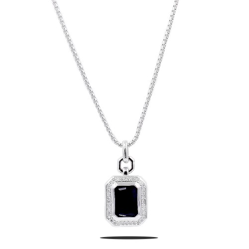 Rhodium Plated with Black CZ Stone Pendant