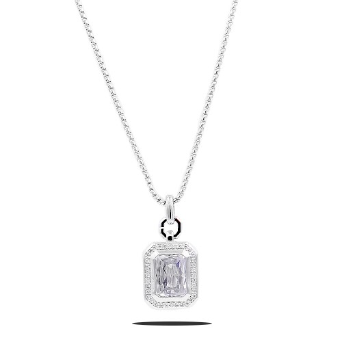Rhodium Plated with Clear CZ Stone Pendant