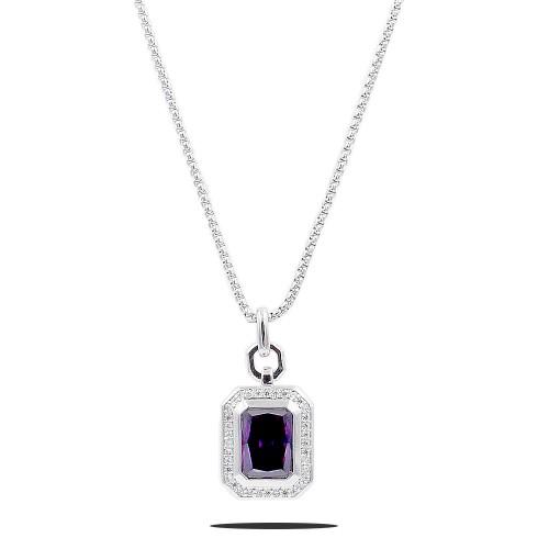 Rhodium Plated with Purple CZ Stone Pendant