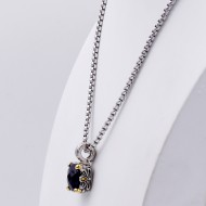 Rhodium Plating with Black Cubic Zirconia Pendant Necklaces