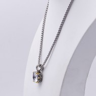 Rhodium Plating with Clear Cubic Zirconia Pendant Necklaces