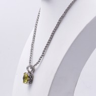 Rhodium Plated with Light Green Cubic Zirconia Pendant Necklaces