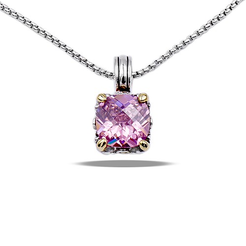 Rhodium Plated with Pink Cubic Zirconia Necklaces