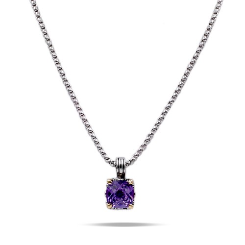 Rhodium Plated with Purple Cubic Zirconia Pendant Necklaces