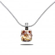 Rhodium Plated with Topaz Cubic Zirconia Necklaces