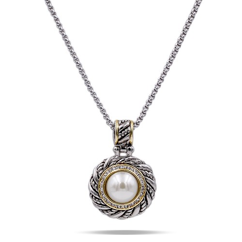 Two Tone Plated With Cubic Zirconia with Mother of Pearl Pendant Necklaces