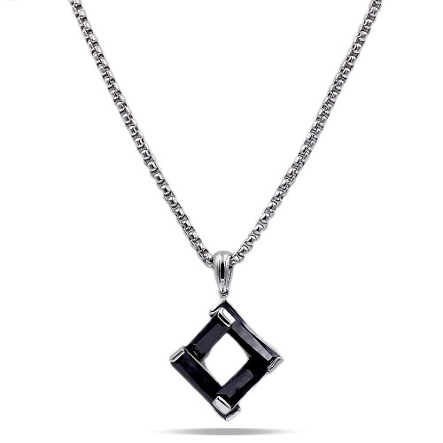 Rhodium Plated with Black Cubic Zirconia Pendant Necklaces