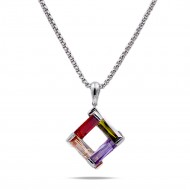 Rhodium Plated with Dark Multi-Color Cubic Zirconia Pendant Necklaces