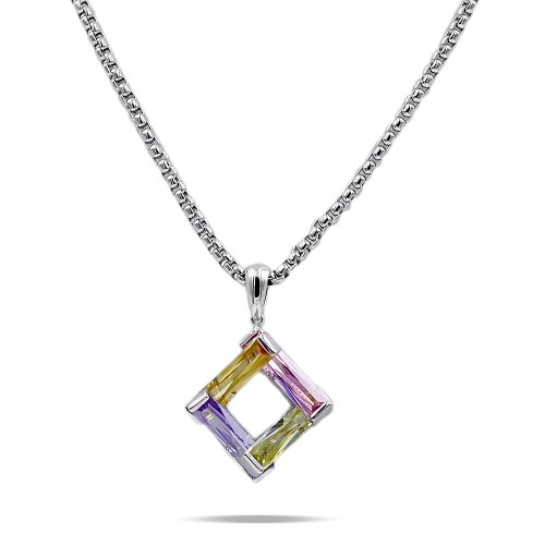 Rhodium Plated Light Multi-Color Cubic Zirconia Pendant Necklaces