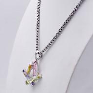 Rhodium Plated Light Multi-Color Cubic Zirconia Pendant Necklaces