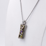 Rhodium Plated with Multi-Color Cubic Zirconia Pendant Necklaces