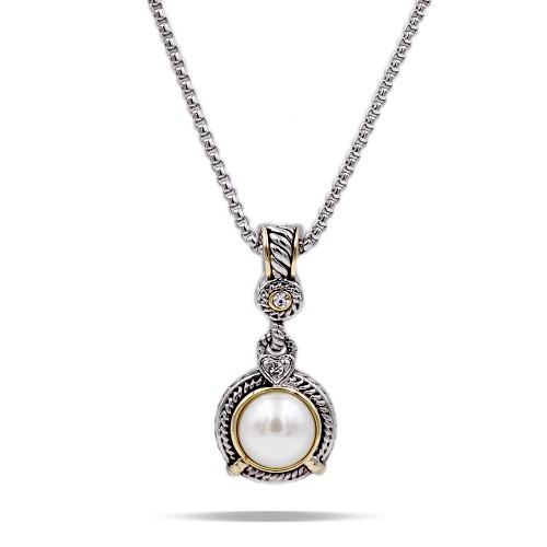 Two-tones with Pearl Cubic Zirconia Pendant Necklaces