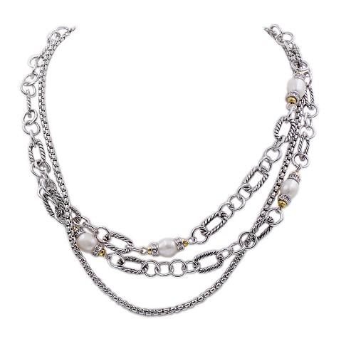 2-Tones with Multi-lines Cubic Zirconia Necklaces