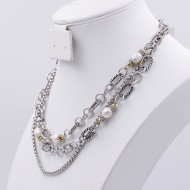 2-Tones with Multi-lines Cubic Zirconia Necklaces