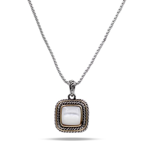 2-Tones with Mother of Pearl Cubic Zirconia Pendant Necklaces