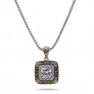 Rhodium Plated with Clear Cubic Zirconia Pendant Necklaces