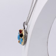 2-Tones with Multi-Color Cubic Zirconia Pendant Necklaces