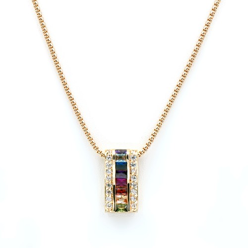 Gold Plated with Multi-Color Cubic Zirconia Necklaces