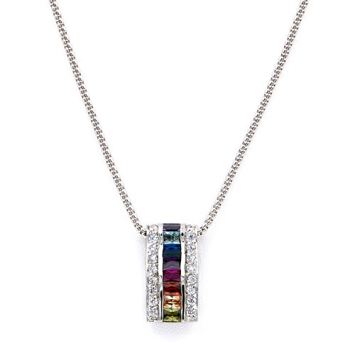 Rhodium Plated with Multi-Color Cubic Zirconia Necklaces