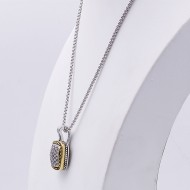 Two-tone with Cubic Zirconia Pendant Fashion Necklace