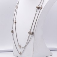 2-Tones with 54 Inches Cubic Zirconia Long Fashion Necklaces