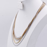 Two-tone with Multi Line Chain Fashion Statement Necklaces