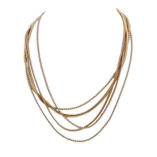Gold Plated with Multi Line Chain Fashion Statement Necklaces