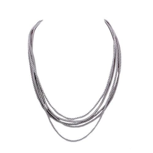 Rhodium Plated with Multi Line Chain Fashion Statement Necklaces