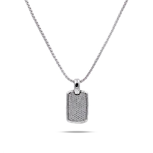 Rhodium Plated with Cubic Zirconia Pendant Necklaces