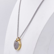 Two-tones with Cubic Zirconia Pendant Necklaces