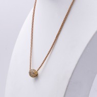 "Gold Plated with CZ Cubic Zirconia Pave Ball with 16"" Plus 3"" Extension Chain Necklace"