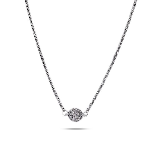 "Rhodium Plated with Cubic Zirconia Pave Ball with 16"" Plus 3"" Extension Chain Necklace"