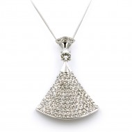 "Rhodium Plated with 36"" Long Crystal Pendant Fashion Statement Necklace"