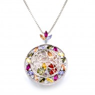 Rhodium Plated With Multi Color CZ Cubic Zirconia Long Pendant Necklace. Pendant can use as Brooch.