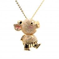 "Gold Plated With Clear CZ Cubic Zirconia 36"" Long Pig Pendant Fashion Statement Necklace"