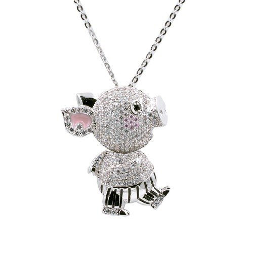 """Rhodium Plated With Clear CZ Cubic Zirconia 36"""" Long Pig Pendant Fashion Statement Necklace"""