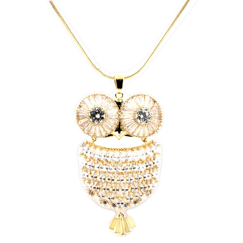 Gold Plated With Clear CZ Cubic Zirconia Owl Pendant Fashion Statement Necklace