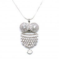 Rhodium Plated With Clear CZ Cubic Zirconia Owl Pendant Fashion Statement Necklace